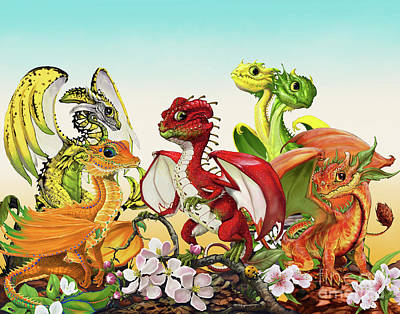 Lemon Digital Art - Fruit Medley Dragons by Stanley Morrison
