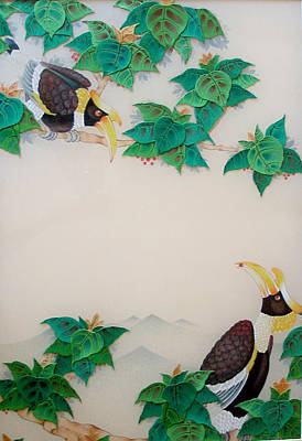 Hornbill Mixed Media - Fruit Of A Bodhi Tree by Terris Temple