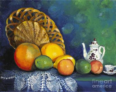 Art Print featuring the painting Fruit On Doily by Marlene Book