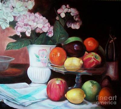 Painting - Fruit On Glass Dish II by Marlene Book