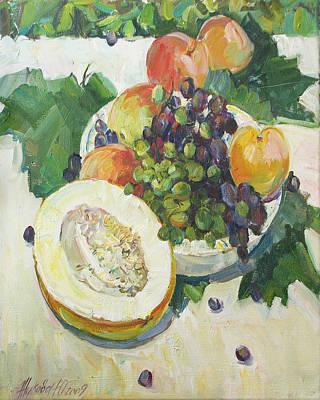 Fruit On Grape Leaves Art Print by Juliya Zhukova