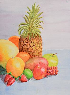 Fruit On Table Art Print by Linda Brody