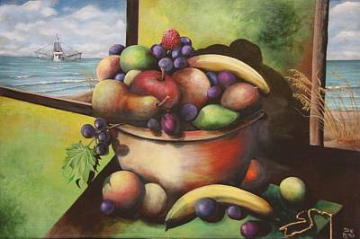 Fruit Bowl Window Painting - Fruit On The Beach by Virginia Bond