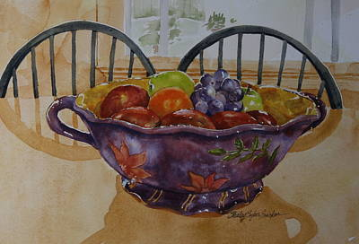 Fruit Bowl Window Painting - Fruit On The Table by Shirley Sykes Bracken