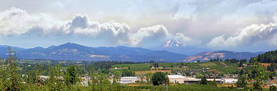 Wall Art - Photograph - Fruit Orchards In Hood River Oregon Panorama by David Gn