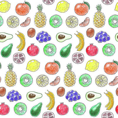 Pineapple Mixed Media - Fruit Pattern  by Katerina Kirilova