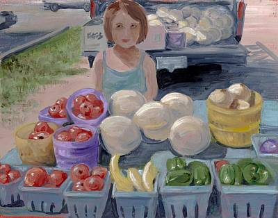 Fruit Stand Girl Art Print by Cathy France
