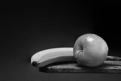 Fruit Still Life - Banana And Apple Art Print by Donald Erickson