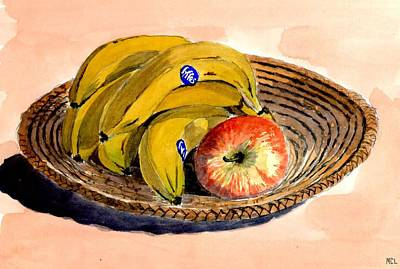 Yellow Bananas Painting - Fruit. Still Life. by Mike Lester
