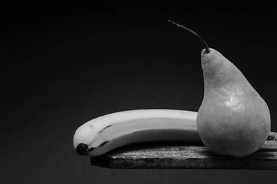 Fruit Still Life - Pear And Banana Art Print by Donald Erickson