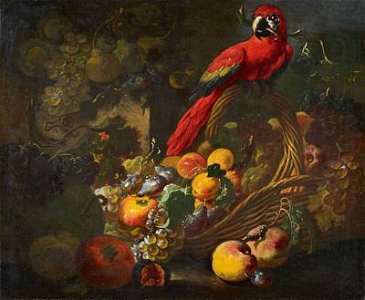 Fruit Still Life With A Parrot Art Print by Giovanni Paolo