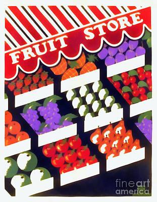 Wpa Digital Art - Fruit Store Vintage Wpa Poster by Edward Fielding