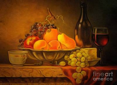 The Buffet Painting - Fruit Table Buffet In Ambiance by Catherine Lott