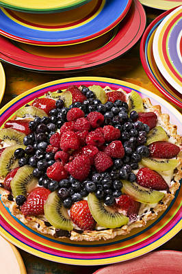 Raspberry Photograph - Fruit Tart Pie by Garry Gay