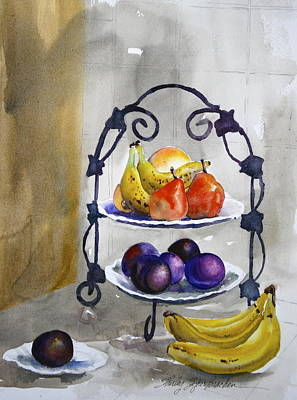 Rack Mixed Media - Fruit Tree At The Stuart's by Shirley Sykes Bracken