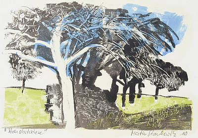 Painting - Fruit Tree Orchard, Monotype Print by Martin Stankewitz
