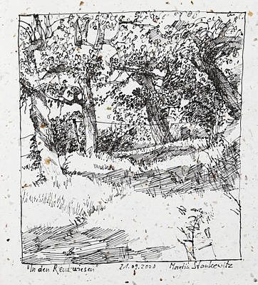 Drawing - Fruit Trees,landscape Ink Drawing In Romantic Style by Martin Stankewitz
