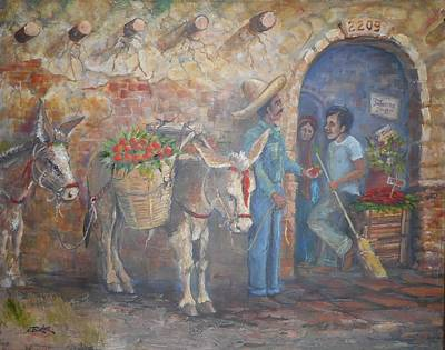 Lynn Burton Wall Art - Painting - Fruit Vendor by Lynn Burton