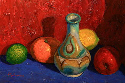 Painting - Fruit With Ceramic Vase by Terry Perham