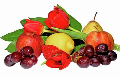 Purple Grapes Digital Art - Fruits And Red Tulips by larisa Fedotova