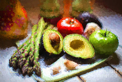 Asparagus Mixed Media - Fruits And Vegetables by Garland Johnson