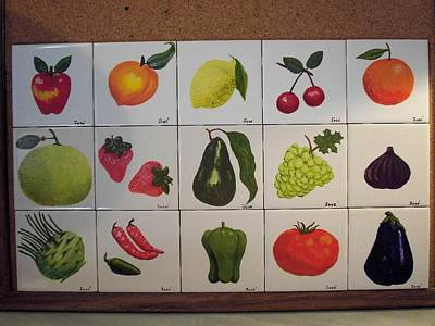 Art Print featuring the ceramic art Fruits And Vegetables by Hilda and Jose Garrancho