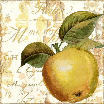 French Script Painting - Fruits D'or Golden Apple by Mindy Sommers
