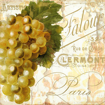French Script Painting - Fruits D'or Golden Grapes by Mindy Sommers