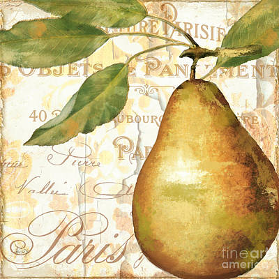 French Script Painting - Fruits D'or Golden Pear by Mindy Sommers