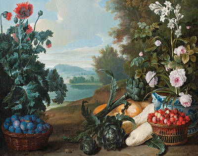 Fruits Flowers And Vegetables In A Landscape Art Print