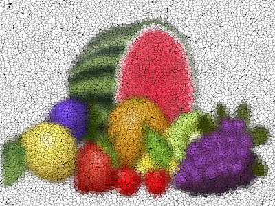 Fruits Graffiti Mosaic Art Print by Miroslav Nemecek