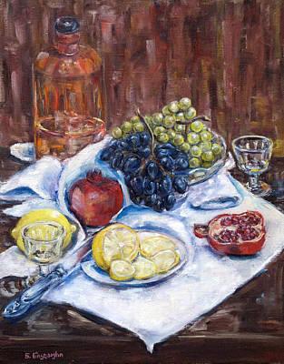 Pomegranades Painting - Fruits by Natia Tsiklauri