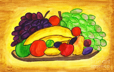 Painting - Fruits On Plate, Painting by Irina Afonskaya