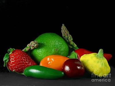 Photograph - fruits veg strawberry peppers cherry Asparagus by R Muirhead Art