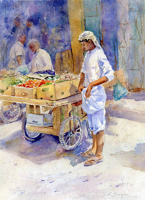Souq Painting - Fruitseller Jeddah by Dorothy Boyer