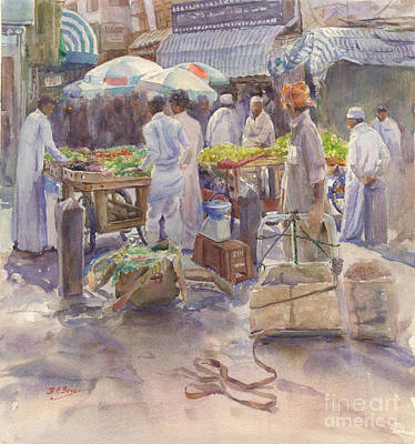 Souq Painting - Fruitstall Jeddah by Dorothy Boyer