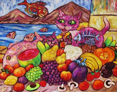 Painting - Fruity Cat Turns Fisho by Dianne  Connolly