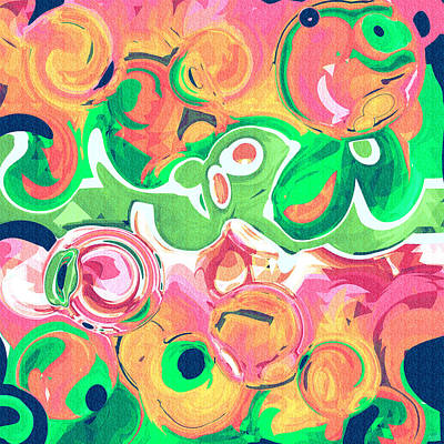 Watermelon Drawing - Fruity Swirls Abstract Design by Laura Haro