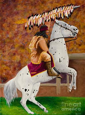 Fsu Chief Osceola And Renegade Art Print by Deb Breton