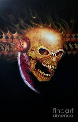 Painting - Fsu Flamming Skull by Pete Sintes