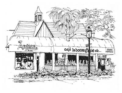 Ft. Lauderdale Cafe La Bonne Crepe Restaurant Original by Robert Birkenes