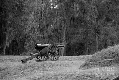 Ft. Mcallister Cannon 2 Black And White Art Print