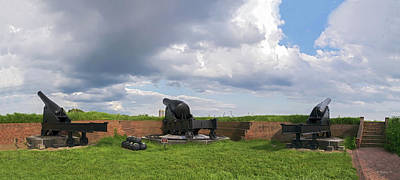 War Monuments And Shrines Photograph - Ft Mchenry Cannons - Pano by Brian Wallace
