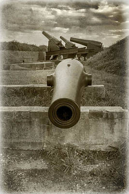 Mixed Media - Ft Mchenry Cannons - Sepia by Brian Wallace