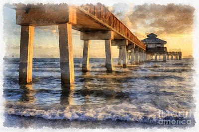 Painting - Ft. Myers Fishing Pier Watercolor by Edward Fielding