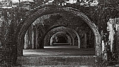 Photograph - Ft. Pickens Arches Bw by George Taylor