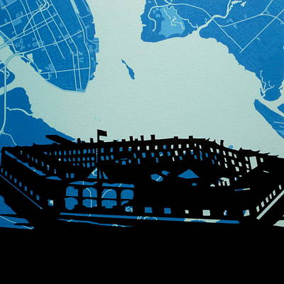 Ft Sumter Charleston Map And Silhouette Art Print by Anna Ruzsan