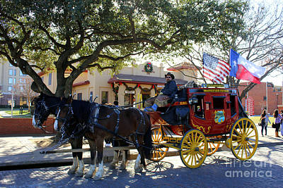Cattle Drive Photograph - Ft Worth Stockyards Stagecoach  by Kathy White