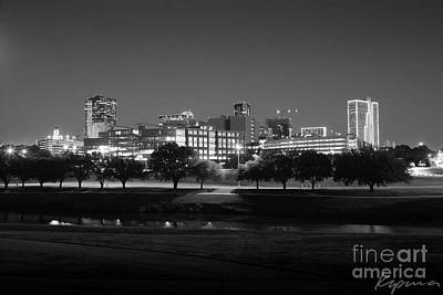 Photograph - Ft. Worth Texas Skyline Dusk Black And White by Greg Kopriva
