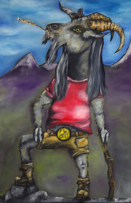 Mountain Goat Mixed Media - Fu Billy by Jaren Johnson